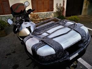 moto, mototurismo, escarcha, congelada, mototouring