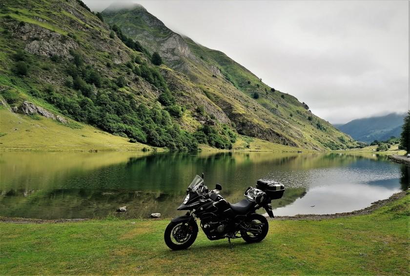 moto, lago, Estaing, reflejo,