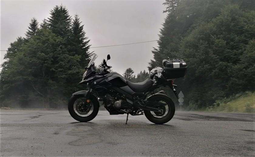moto, niebla, carretera