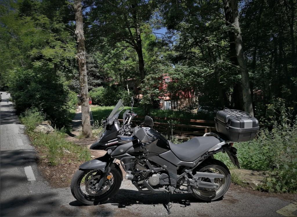 moto, bosque, casa,